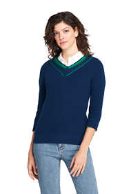 Women's Tall Lofty Blend 3/4 Sleeve V-neck Sweater