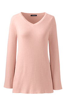 Women's Ribbed V-neck Tunic Jumper