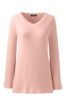 Gerippter Pullover mit ausgestellten Ärmeln für Damen in Normalgröße
