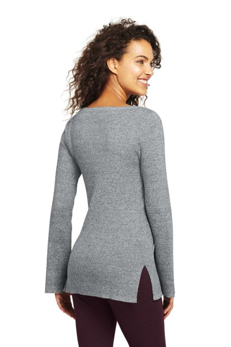 Women's Long Sleeve V-neck Tunic Sweater
