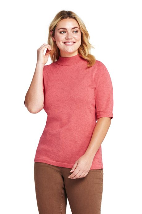 Women's Plus Size Supima Elbow Sleeve Mock Neck Sweater