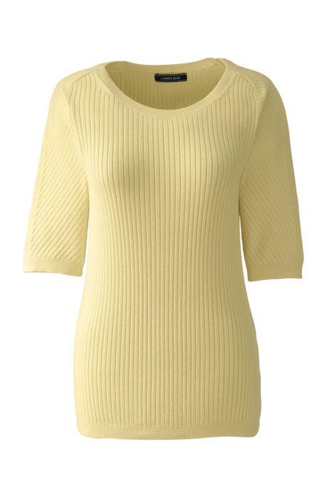 Women's Plus Size Cotton Elbow Sleeve Scoop Neck Sweater