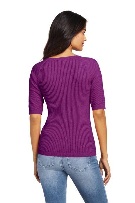Women's Petite Cotton Elbow Sleeve Scoop Neck Sweater