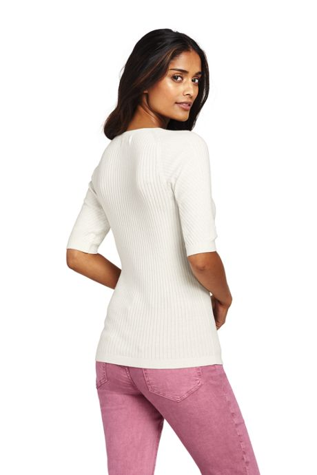 Women's Cotton Elbow Sleeve Scoop Neck Sweater