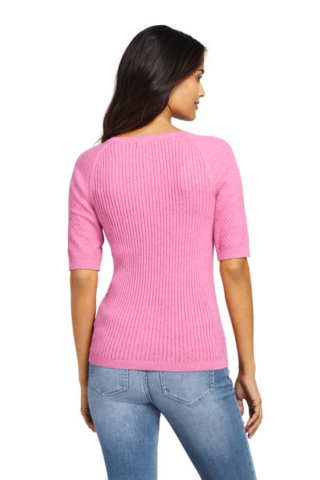 Women's Tall Cotton Elbow Sleeve Scoop Neck Sweater