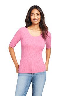 Baumwollpullover mit halblangen Ärmeln für Damen