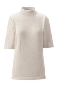 Women's Petite Supima Elbow Sleeve Mock Neck Sweater