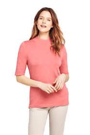 Women's Tall Supima Elbow Sleeve Mock Neck Sweater