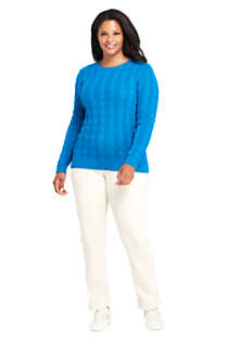 Women's Plus Size Drifter Cotton Cable Knit Crewneck Sweater, alternative image