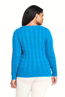 Women's Plus Size Drifter Cotton Cable Knit Crewneck Sweater, Back