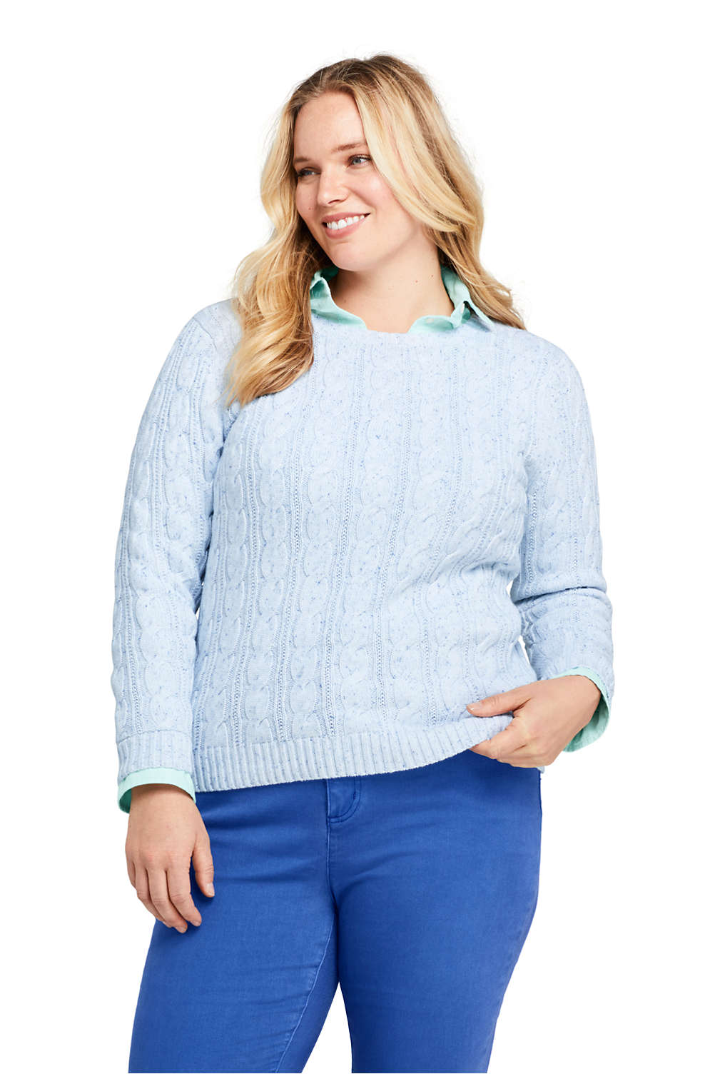 b0ab66e898 Women s Plus Size Drifter Cotton Cable Knit Sweater Crewneck from Lands  End