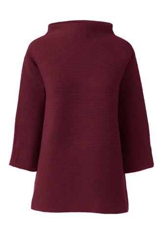 Shaker Stehkragen-Pullover mit 3/4-Ärmeln für Damen in Petite-Größe