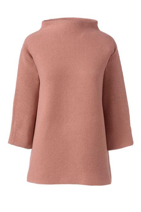 Women's Plus Size Shaker 3/4 Sleeve Mockneck Sweater