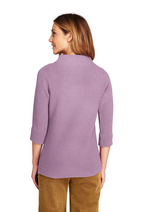 Women's Tall Shaker 3/4 Sleeve Mock Neck Sweater