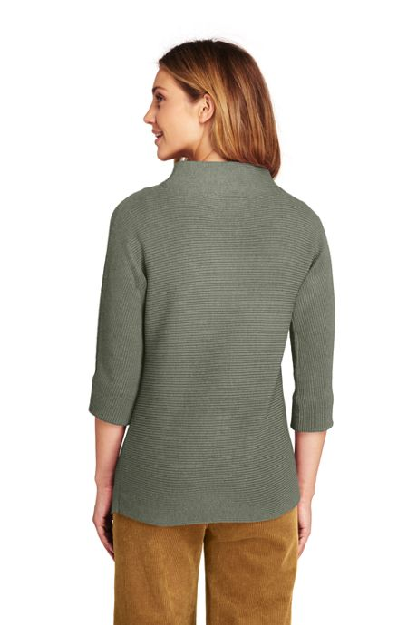 Women's Shaker 3/4 Sleeve Mock Neck Sweater