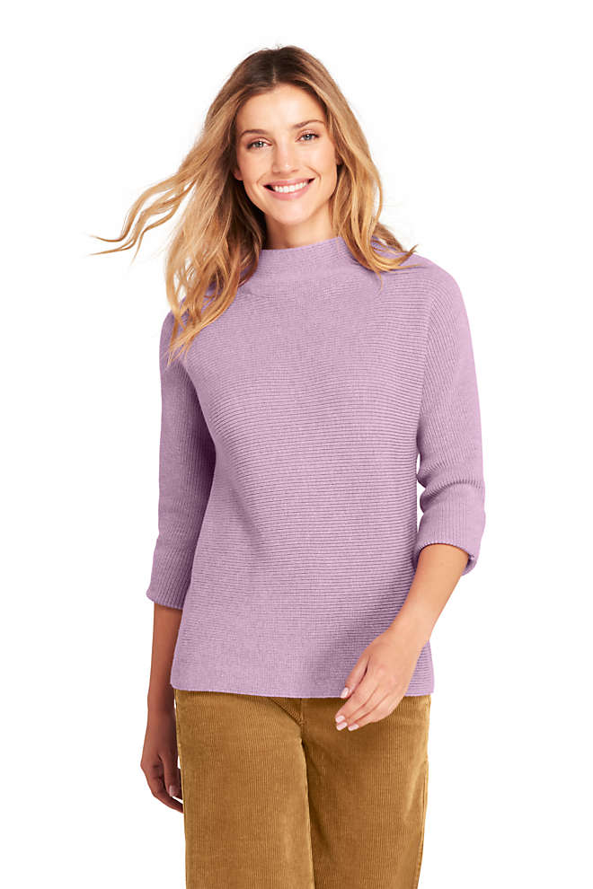 Women's Tall Shaker 3/4 Sleeve Mock Neck Sweater, Front