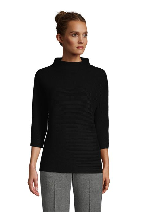 Women's Petite Shaker 3/4 Sleeve Mock Neck Sweater