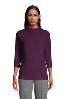 Shaker Stehkragen-Pullover mit 3/4-Ärmeln für Damen in Normalgröße