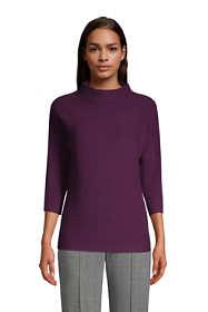 Women's Shaker 3/4 Sleeve Mock Neck Sweater