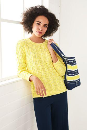 Women's Drifter Cotton Cable Knit Sweater Crewneck