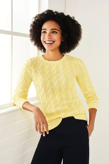 Women's Petite Drifter Cotton Cable Knit Sweater Crewneck