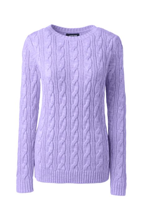 Women's Plus Size Drifter Cotton Cable Knit Sweater Crewneck
