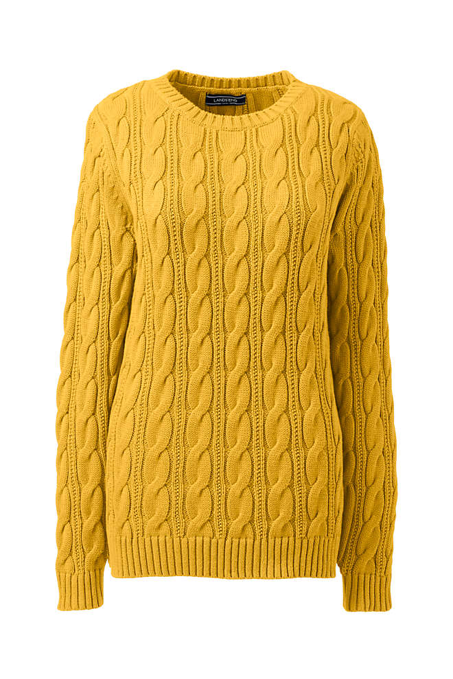 Women's Plus Size Drifter Cotton Cable Knit Crewneck Sweater, Front