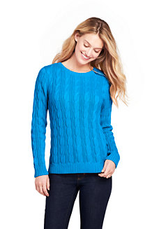 Women's Cotton Cable Crew Neck Jumper