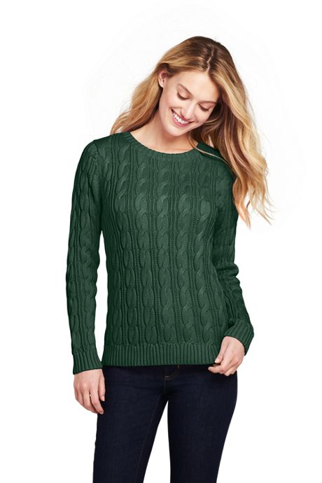 Women's Drifter Cotton Cable Knit Sweater Crewneck
