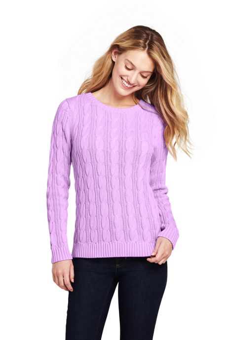 Women's Tall Drifter Cotton Cable Knit Crewneck Sweater