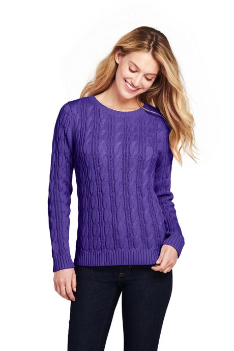 Women's Petite Drifter Cotton Cable Knit Sweater Crewneck