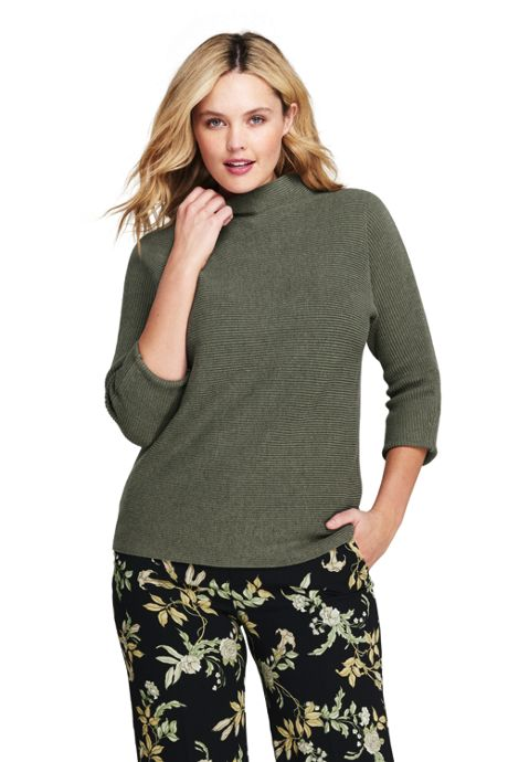 Women's Plus Size Shaker 3/4 Sleeve Mockneck Sweater
