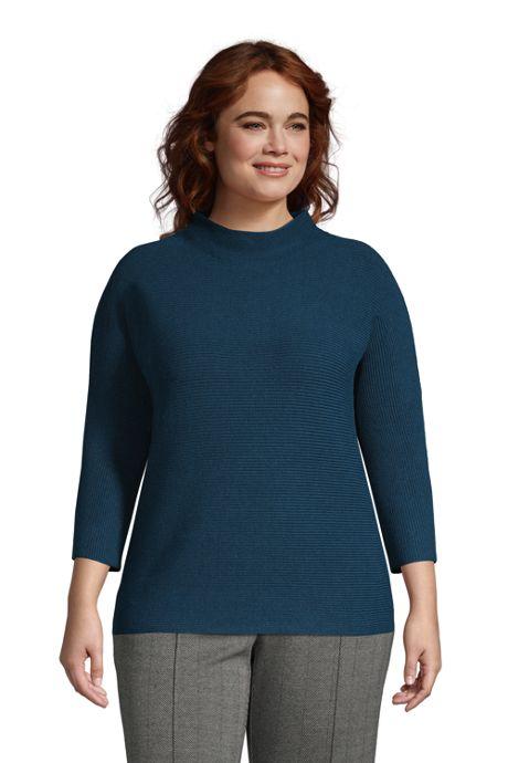 Women's Plus Size Shaker 3/4 Sleeve Mock Neck Sweater