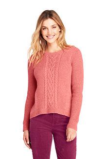 Zopfmuster-Pullover mit Rundhalsausschnitt für Damen in Normalgröße