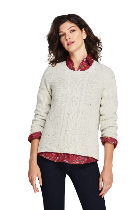 Women's Petite Lofty Blend Placed Cable Sweater