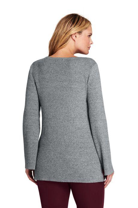 Women's Plus Size Long Sleeve V-neck Tunic Sweater