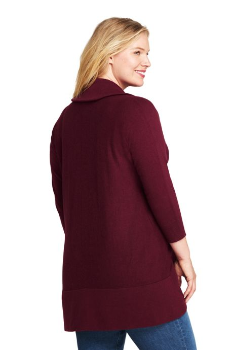 Women's Plus Size 3/4 Sleeve Cocoon Cardigan Sweater