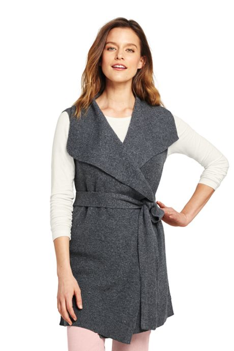Women's Petite Sleeveless Lofty Blend Tie Sweater Vest