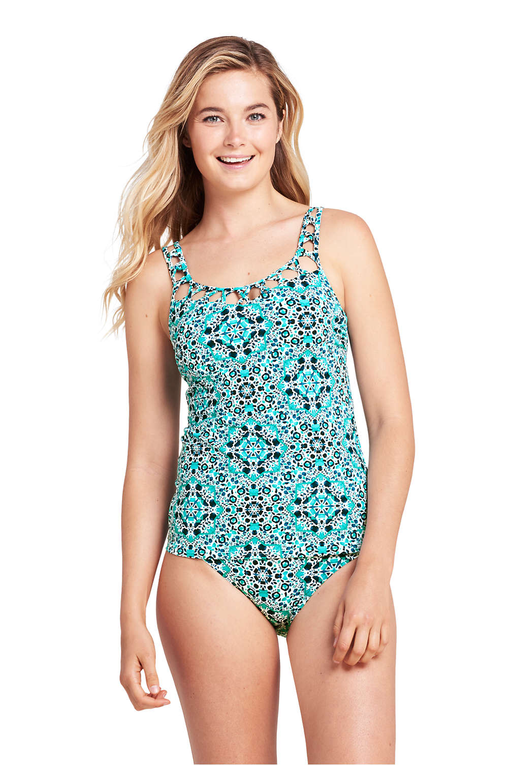 77814b50becb4 Women's Lattice V-neck Tankini Top from Lands' End