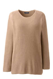 Women's Plus Size Shaker Scoop Neck Cotton Sweater