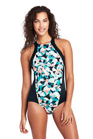 Women's Petite Chlorine Resistant High-neck One Piece Swimsuit Print