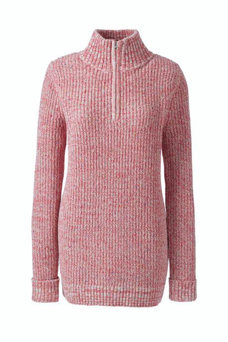Women's Plus Size Lofty Blend Quarter-Zip Mock Tunic Sweater