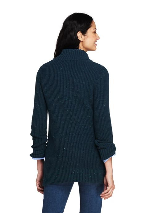 Women's Petite Blend Quarter-Zip Mock Tunic Sweater