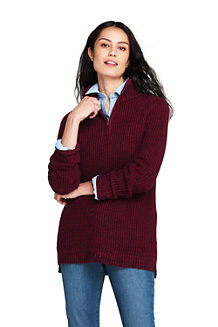 Women's Chunky Knit High Neck Tunic Jumper