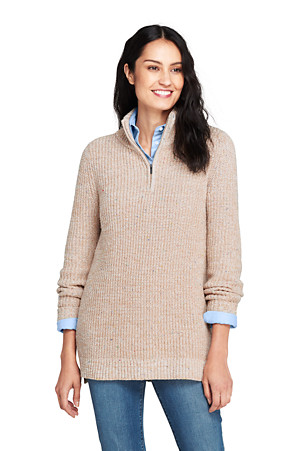 aef936dcd67 Women's Chunky Knit High Neck Tunic Jumper | Lands' End