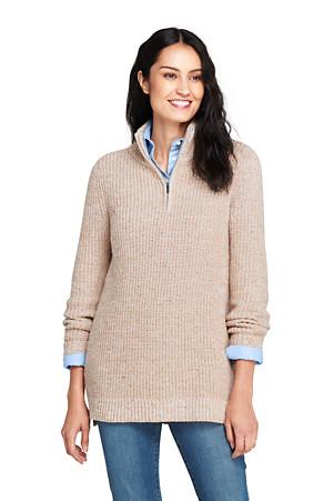 4ee57938054ef9 Langer Zipper-Pullover mit Stehkragen für Damen in Normalg | Lands' End