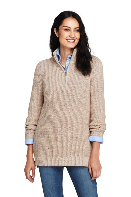 Women's Petite Blend Quarter-Zip Mock Tunic Sweater