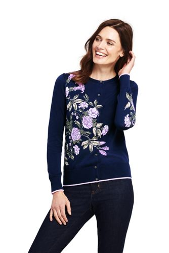 Women's Supima Cotton Floral Cardigan