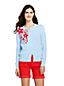 Le Cardigan Supima Fines Mailles à Fleurs Brodées, Femme Stature Standard