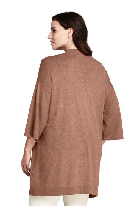Women's Plus Size Cotton 3/4 Sleeve Open Cardigan Sweater